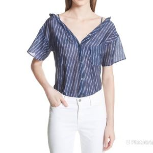 THEORY Tamalee Cold Shoulder Top Silk Striped Blue